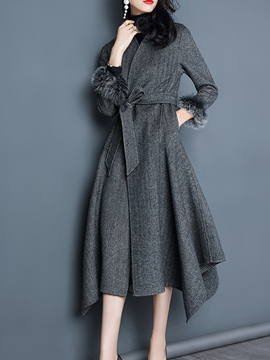Ericdress Plain Belt Feather Long Coat