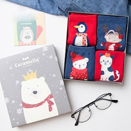 Cute Cotton Christmas Elements Socks for Adults 4 Pairs