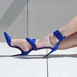 Ericdress Blue Buckle Pointed Toe Stiletto Heel Pumps