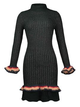 Ericdress Stand Collar Falbala Pullover Sweater Dress
