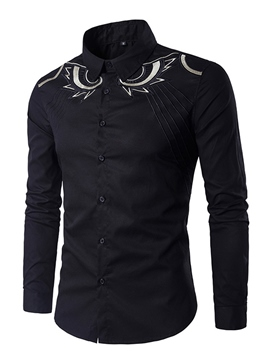 Ericdress Lapel Print Slim Men's Cotton Shirt
