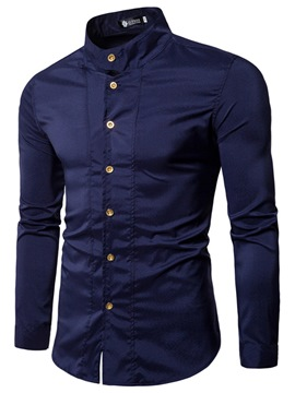 Ericdress Plain Stand Collar Button Long Sleeve Slim Men's Shirt
