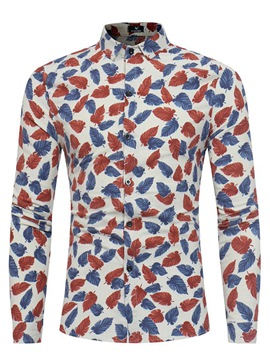 Ericdress Floral Lapel Long Sleeve Vogue Slim Men's Shirt