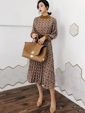 Ericdress Lace-Up Pleated Trumpet A Line Dress