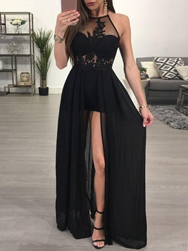 Ericdress A Line Halter Applique Side Backless Evening Dress