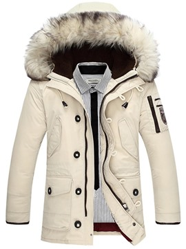 Ericdress Plain Thick Zipper Hooded Mens Winter Coats