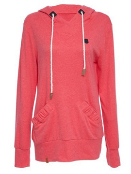 Ericdress Mid-Length Plain Pocket Cool Hoodie