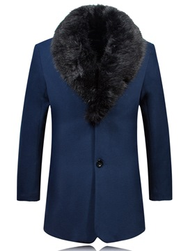 Ericdress Detachable Faux Fur Collar Mid-Length Slim Men's Woolen Coat