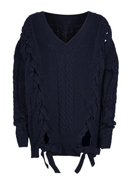 Ericdress Loose Jacquard Weave Pullover Women's Sweater