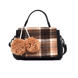 Ericdress Classic Plaid Ball Decoration Women Handbag