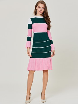 Color Block Stripe Falbala Patchwork Women's Skirt Two Piece Set
