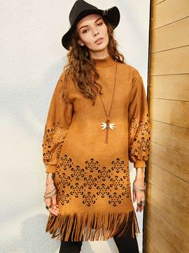 Stand Collar Lantern Sleeve Tassel Women's Day Dress