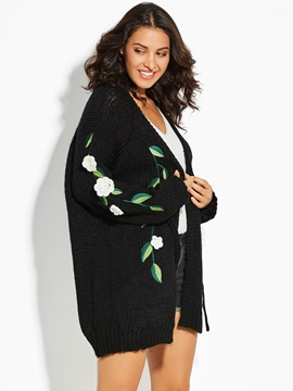 Ericdress Loose Appliques Flocking Cardigan Sweater