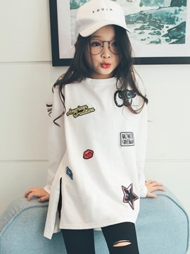 Ericdress Korean Letter Print Sequins Asymmetric Girl's T-Shirt