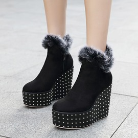 Ericdress Rivet Platform Wedge Heel Women's Boots