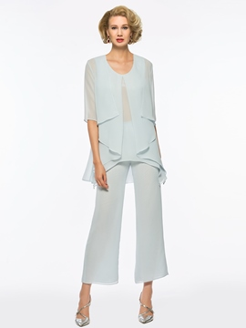 Ericdress Scoop A Line Chiffon Mother of the Bride Jumpsuit with Jacket