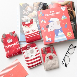 Christmas Gift Box Red Socks for Girls Mid Cut Length Hosiery for Women 4 Pairs
