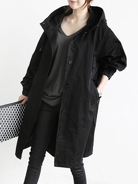 Ericdress Plain Mid-Length Batwing Sleeve Trench Coat