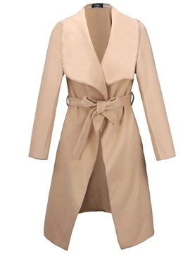 Ericdress Loose Long Plain Belt Coat
