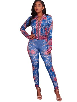 Floral Print Jacket and Pants Women's Suit