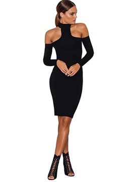 Ericdress Off-the-Shoulder Plain Knee-Length Sheath Dress