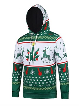 Ericdress Christmas Style 3D Print Hooded Pullover Men's Hoodie