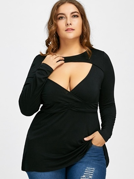 Ericdress Slim Plus-Size Plain Hollow T-shirt
