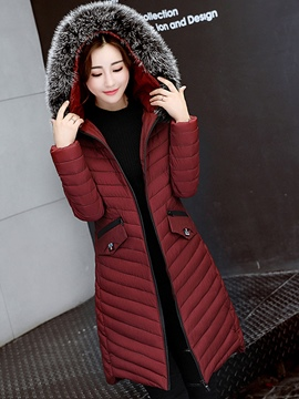 Ericdress Zipper Mid-Length Pocket Hooded Coat