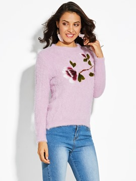 Ericdress Straight Floral Plain Pullover Women's Sweater