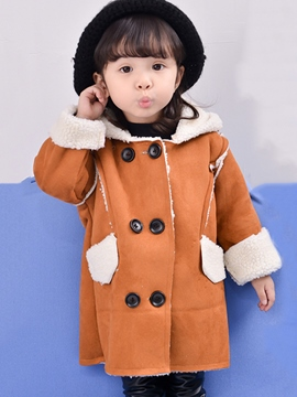 Ericdress Dog Print Hooded Double-Breasted Girl's Overcoat