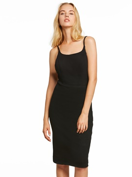 Ericdress Presale Spaghetti Straps Black Sheath Cocktail Dress
