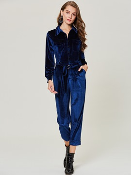 Slim Full Length Wide Legs Women's Jumpsuit