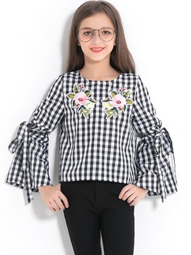 Ericdress Plaid Flower Print Round Neck Flare Sleeve Girl's T-Shirt