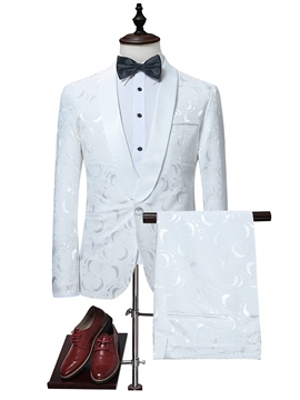 Ericdress White Print Three-Piece Men's Suit