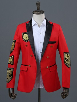 Ericdress Notched Lapel Color Block Mens Costume Casual Blazer