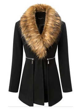 Ericdress Slim Patchwork Mid-Length Feather Coat