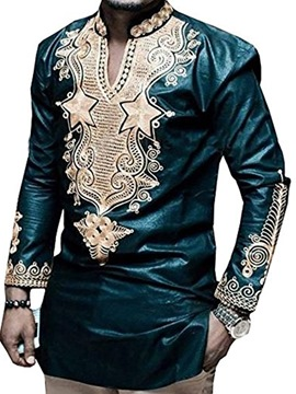 Ericdress Dashiki African Print V-Neck Vogue Men's Shirt