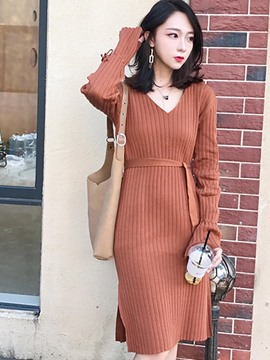 Ericdress Flare Long Sleeve Lace-Up Sweater Dress