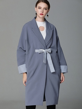 Ericdress Notched Lapel Mid-Length Bow Trench Coat