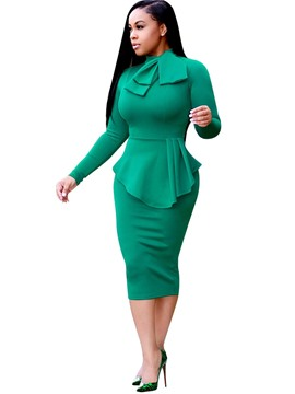 Ericdress Bowknot Asymmetric Long Sleeve Bodycon Dress