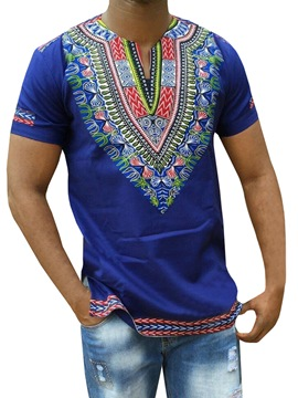 Ericdress African Fashion Dashiki Print V-Neck Mens Straight T-shirt
