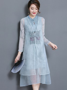 Ericdress Retro Mid-Length Shirt and Embroidery Mid-Calf Dress Women's Suit