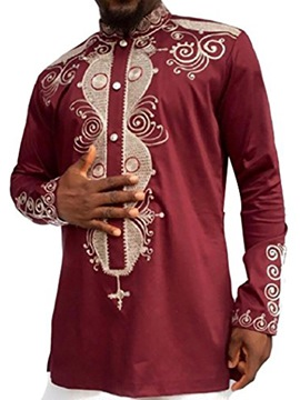 Ericdress Ethnic Style Single-Breasted Dashiki Slim Men's Shirt