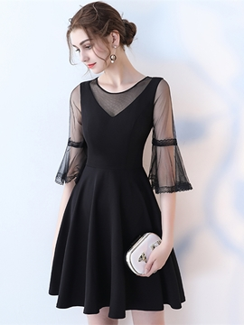 Ericdress A Line Half Sleeve Black Homecoming Dress