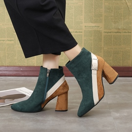 Ericdress Buckle Color Block Women's Chunky Heel Ankle Boots