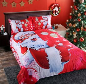 Vivilinen 3D Santa and Christmas Decorations Printed 4-Piece Red Bedding Sets/Duvet Covers