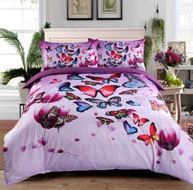 Vivilinen Colorful Butterflies and Purple Flower Printed 3D 4-Piece Bedding Sets/Duvet Covers