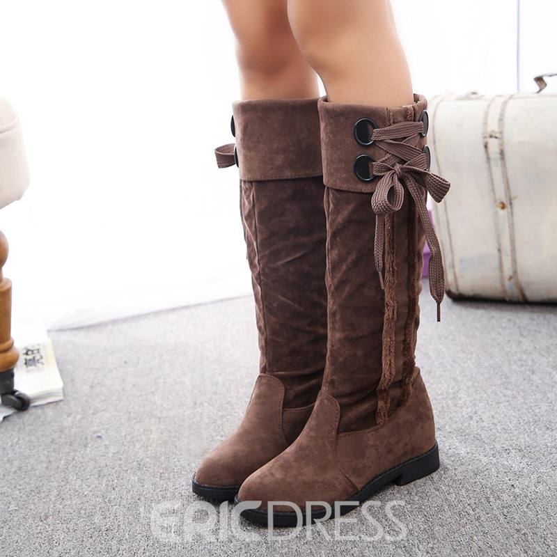 Ericdress Fashion Lace-Up Plain Womens Knee High Boots