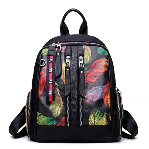 Ericdress Colorful Feather Pattern Soft PU Zipper Backpack