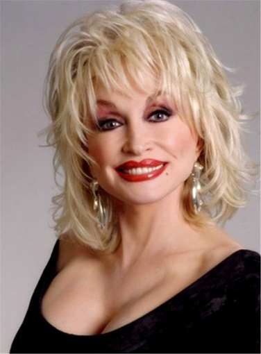 Ericdress Women's Dolly Parton Blond Mid-Length Synthetic Capless Wigs 14 Inches